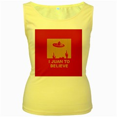 I Juan To Believe Ugly Holiday Christmas Red Background Women s Yellow Tank Top