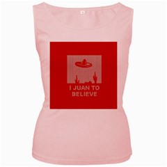 I Juan To Believe Ugly Holiday Christmas Red Background Women s Pink Tank Top