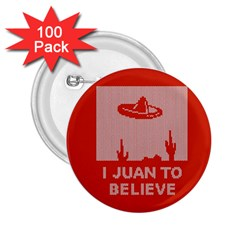 I Juan To Believe Ugly Holiday Christmas Red Background 2.25  Buttons (100 pack)