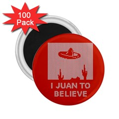 I Juan To Believe Ugly Holiday Christmas Red Background 2.25  Magnets (100 pack)