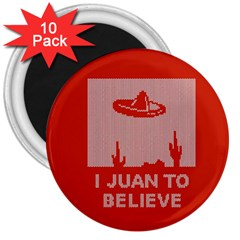 I Juan To Believe Ugly Holiday Christmas Red Background 3  Magnets (10 pack)