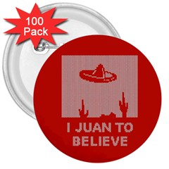 I Juan To Believe Ugly Holiday Christmas Red Background 3  Buttons (100 pack)