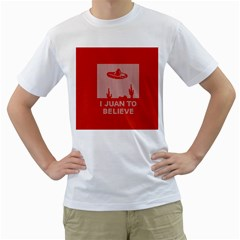 I Juan To Believe Ugly Holiday Christmas Red Background Men s T-Shirt (White) (Two Sided)