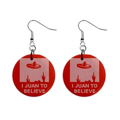 I Juan To Believe Ugly Holiday Christmas Red Background Mini Button Earrings