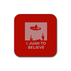 I Juan To Believe Ugly Holiday Christmas Red Background Rubber Square Coaster (4 pack)