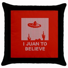 I Juan To Believe Ugly Holiday Christmas Red Background Throw Pillow Case (Black)