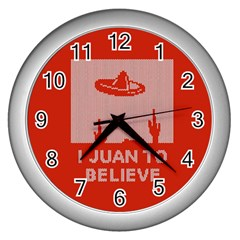 I Juan To Believe Ugly Holiday Christmas Red Background Wall Clocks (Silver)
