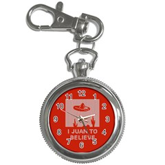 I Juan To Believe Ugly Holiday Christmas Red Background Key Chain Watches