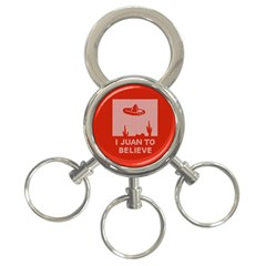 I Juan To Believe Ugly Holiday Christmas Red Background 3-Ring Key Chains