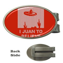 I Juan To Believe Ugly Holiday Christmas Red Background Money Clips (Oval)