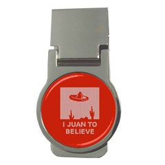I Juan To Believe Ugly Holiday Christmas Red Background Money Clips (Round)