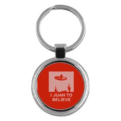I Juan To Believe Ugly Holiday Christmas Red Background Key Chains (Round)