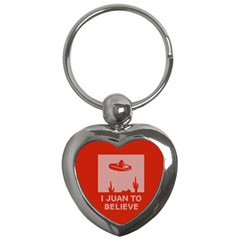I Juan To Believe Ugly Holiday Christmas Red Background Key Chains (Heart)
