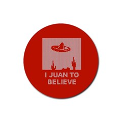 I Juan To Believe Ugly Holiday Christmas Red Background Rubber Round Coaster (4 pack)