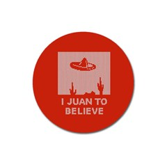 I Juan To Believe Ugly Holiday Christmas Red Background Magnet 3  (Round)