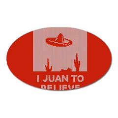 I Juan To Believe Ugly Holiday Christmas Red Background Oval Magnet