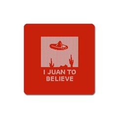 I Juan To Believe Ugly Holiday Christmas Red Background Square Magnet