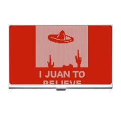 I Juan To Believe Ugly Holiday Christmas Red Background Business Card Holders