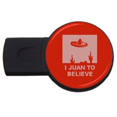 I Juan To Believe Ugly Holiday Christmas Red Background USB Flash Drive Round (1 GB)