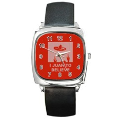 I Juan To Believe Ugly Holiday Christmas Red Background Square Metal Watch
