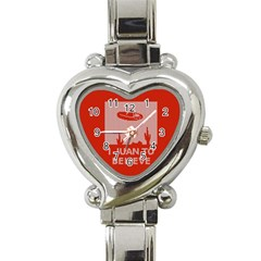 I Juan To Believe Ugly Holiday Christmas Red Background Heart Italian Charm Watch