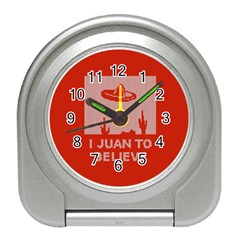 I Juan To Believe Ugly Holiday Christmas Red Background Travel Alarm Clocks
