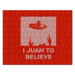 I Juan To Believe Ugly Holiday Christmas Red Background Rectangular Jigsaw Puzzl