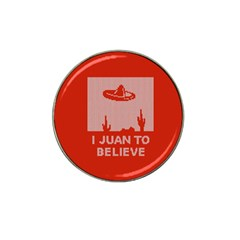 I Juan To Believe Ugly Holiday Christmas Red Background Hat Clip Ball Marker (10 pack)