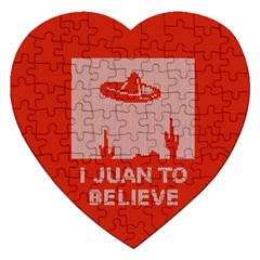 I Juan To Believe Ugly Holiday Christmas Red Background Jigsaw Puzzle (Heart)