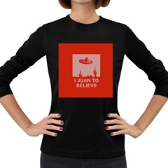 I Juan To Believe Ugly Holiday Christmas Red Background Women s Long Sleeve Dark T-Shirts