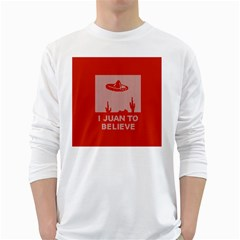 I Juan To Believe Ugly Holiday Christmas Red Background White Long Sleeve T-Shirts