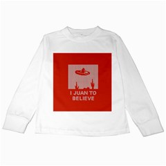 I Juan To Believe Ugly Holiday Christmas Red Background Kids Long Sleeve T-Shirts