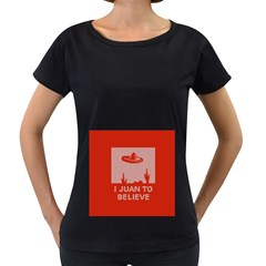 I Juan To Believe Ugly Holiday Christmas Red Background Women s Loose-Fit T-Shirt (Black)