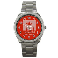 I Juan To Believe Ugly Holiday Christmas Red Background Sport Metal Watch