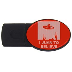 I Juan To Believe Ugly Holiday Christmas Red Background USB Flash Drive Oval (4 GB)