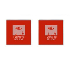 I Juan To Believe Ugly Holiday Christmas Red Background Cufflinks (Square)