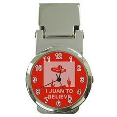 I Juan To Believe Ugly Holiday Christmas Red Background Money Clip Watches