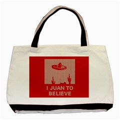 I Juan To Believe Ugly Holiday Christmas Red Background Basic Tote Bag