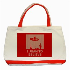 I Juan To Believe Ugly Holiday Christmas Red Background Classic Tote Bag (Red)