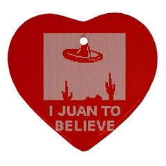 I Juan To Believe Ugly Holiday Christmas Red Background Heart Ornament (2 Sides)