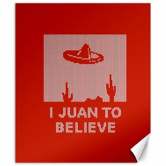 I Juan To Believe Ugly Holiday Christmas Red Background Canvas 20  x 24