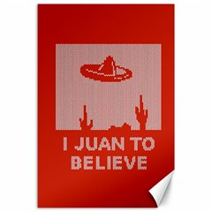 I Juan To Believe Ugly Holiday Christmas Red Background Canvas 24  x 36