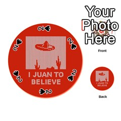 I Juan To Believe Ugly Holiday Christmas Red Background Playing Cards 54 (Round)
