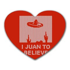 I Juan To Believe Ugly Holiday Christmas Red Background Heart Mousepads