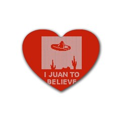 I Juan To Believe Ugly Holiday Christmas Red Background Rubber Coaster (Heart)