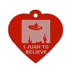I Juan To Believe Ugly Holiday Christmas Red Background Dog Tag Heart (One Side)