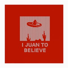 I Juan To Believe Ugly Holiday Christmas Red Background Medium Glasses Cloth