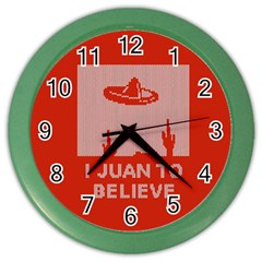 I Juan To Believe Ugly Holiday Christmas Red Background Color Wall Clocks