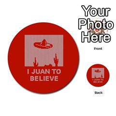 I Juan To Believe Ugly Holiday Christmas Red Background Multi Purpose Cards (round)
