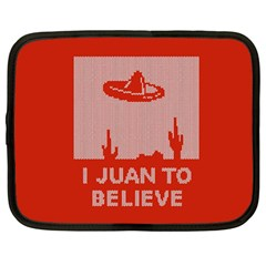 I Juan To Believe Ugly Holiday Christmas Red Background Netbook Case (Large)